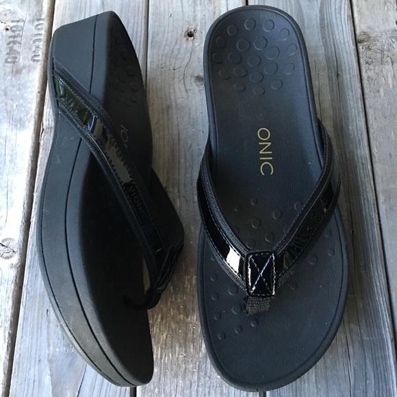 Tide Black Platform Wedge Sandals Sz